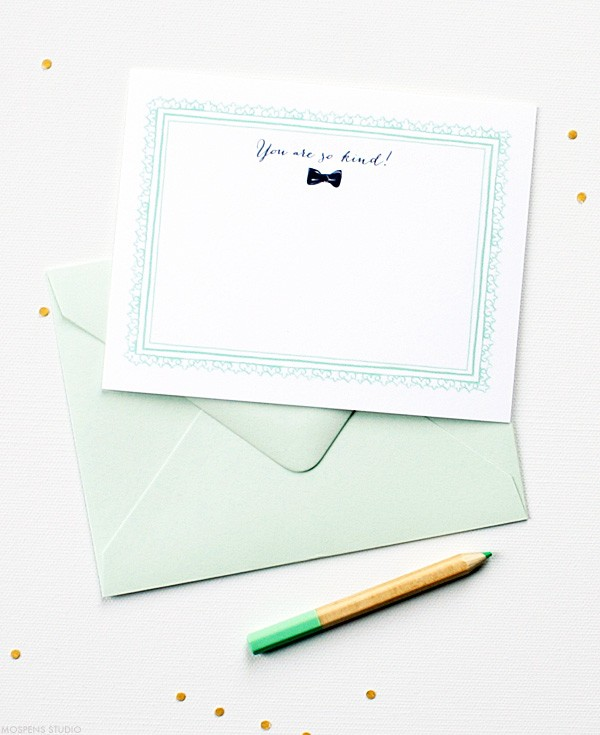 Vintage wedding ithank you cards with a modern mint green twist | Mospens Studio