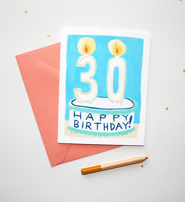 30th Birthday Candles Birthday Card by artist Michelle Mospens