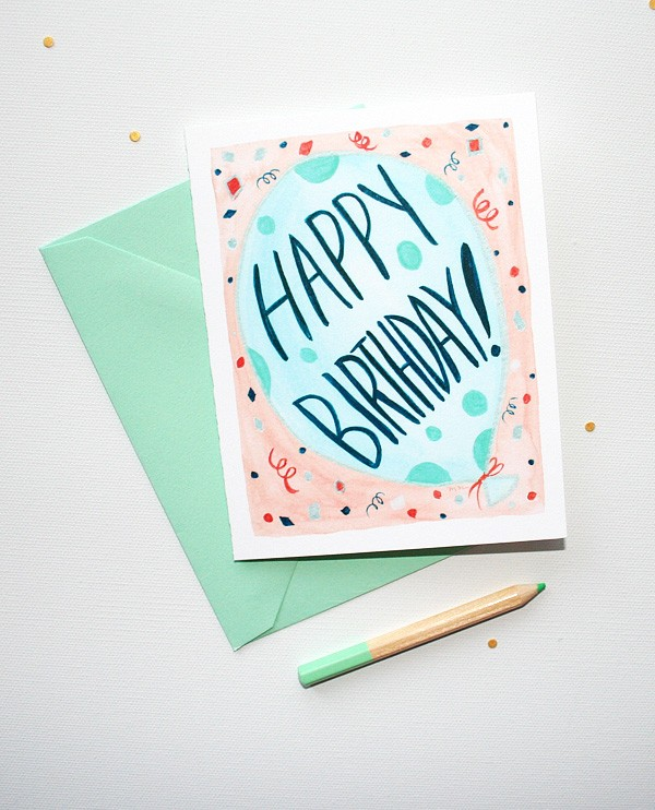 Fun balloon illustrated birthday cards by artist Michelle Mospens