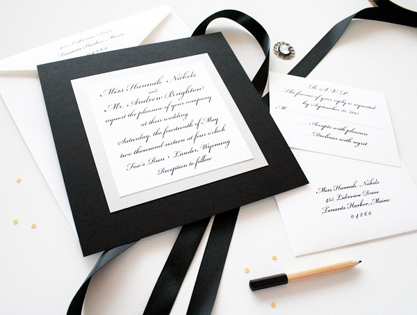 Elegant Black and White Wedding Invitations Watercolor Wedding