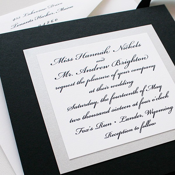 Elegant Black and White Wedding Invitations Custom Invitations
