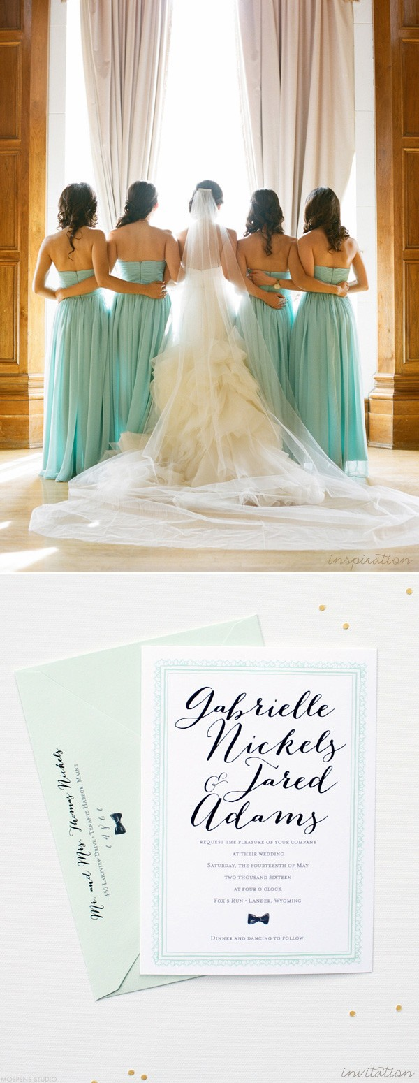 Elegant Mint Wedding Inspiration | Custom Watercolor Invitations ...