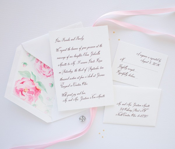 Elegant watercolor peony wedding invitations | www.mospensstudio.com