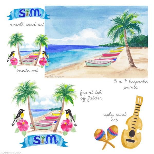 Puerto Rico hand-painted custom wedding invitations art | Mospens Studio