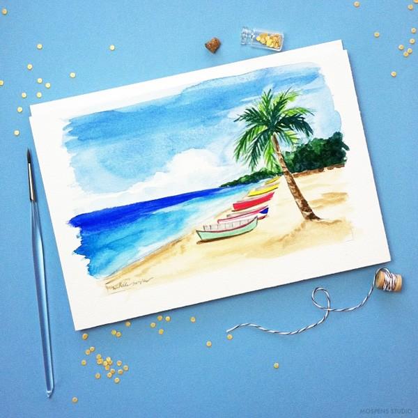 Puerto Rico custom destination wedding invitations art | Mospens Studio