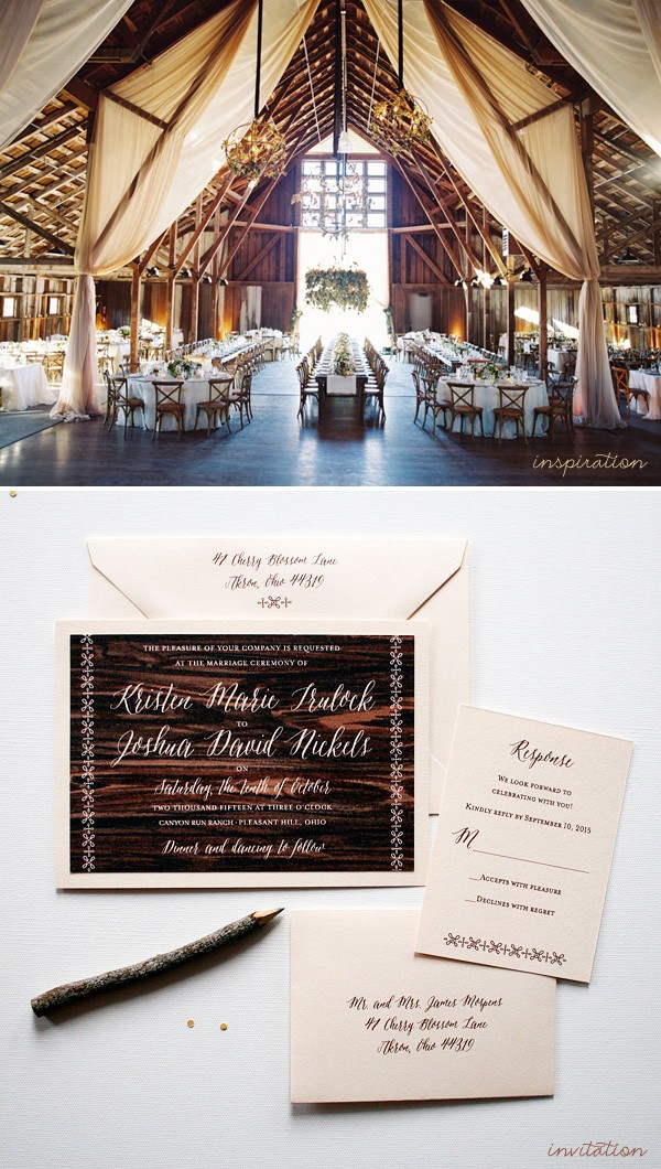 Rustic themed barn wedding invitations | www.mospensstudio.com