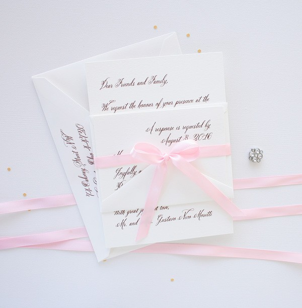 Simple vintage blush pink wedding invitations | www.mospensstudio.com