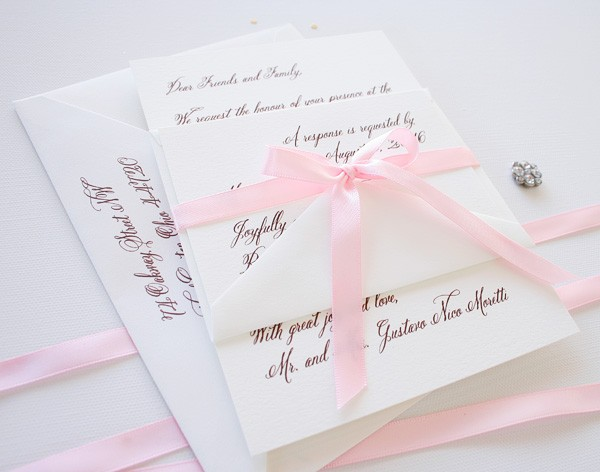 Simple love letter style wedding invitations | www.mospensstudio.com
