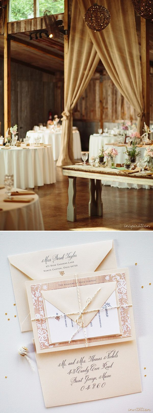 Vintage chic + burlap rustic wedding invitation inspiration | www.mospensstudio.com