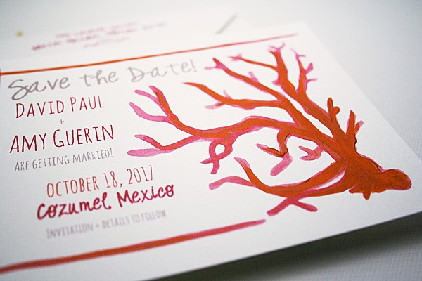 Hand-painted beach theme coral save the dates | www.mospensstudio.com