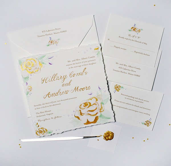 Hand-painted gold roses watercolor wedding invitations | www.mospensstudio.com