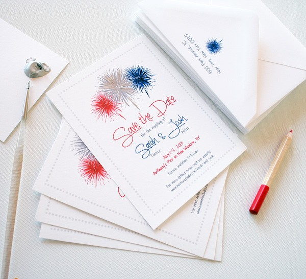 Fourth of July hand-painted fireworks save the dates   www.mospensstudio.com