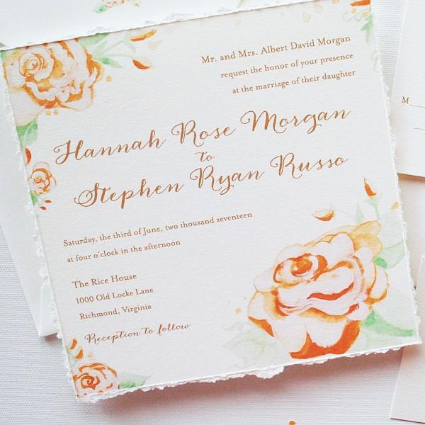 Vintage hand-painted roses wedding invitations | www.mospensstudio.com