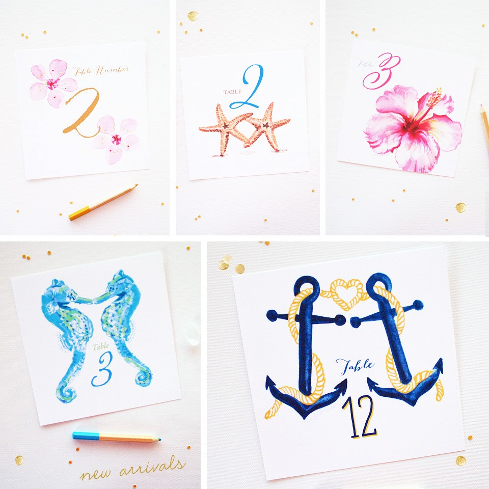 Stylish watercolor table number cards | www.mospensstudio.com