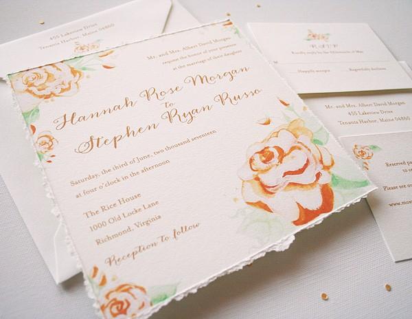 Hand-painted vintage roses wedding invitations | www.mospensstudio.com