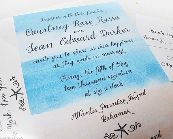 Beach Breeze watercolor beach wedding invitations | www.mospensstudio.com