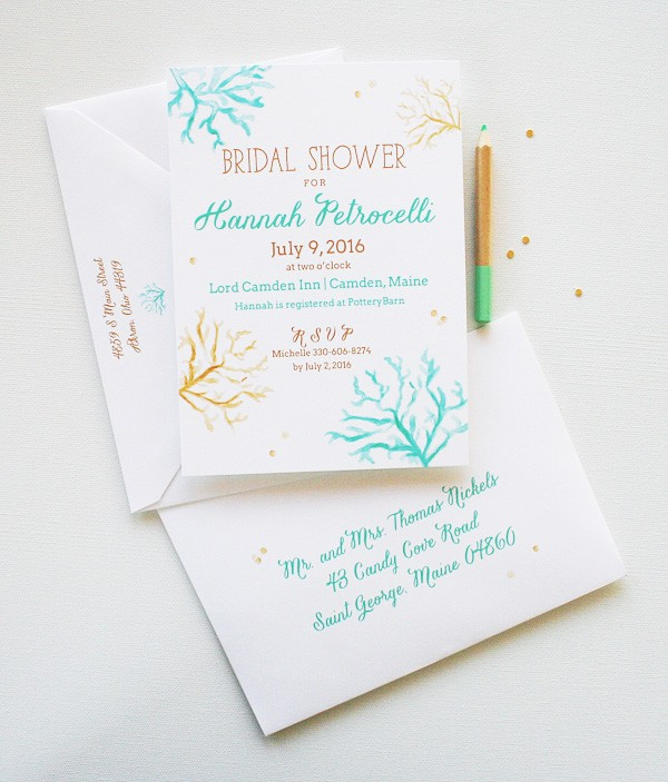 Completely unique beach theme watercolor bridal shower invitations | www.mospensstudio.com
