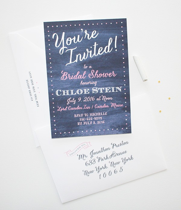 Completely unique chalkboard bridal shower invitations | www.mospensstudio.com