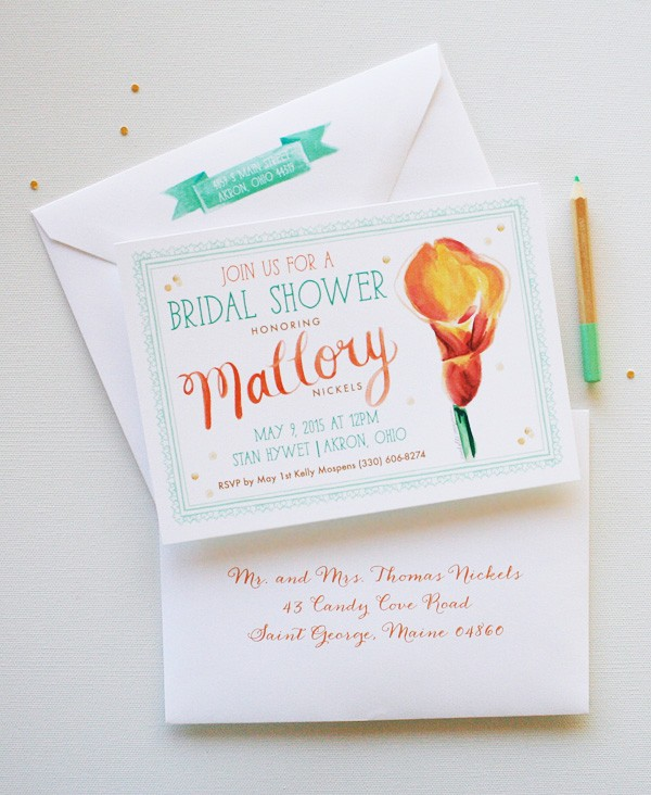 Completely unique orange and mint green watercolor bridal shower invitations | www.mospensstudio.com