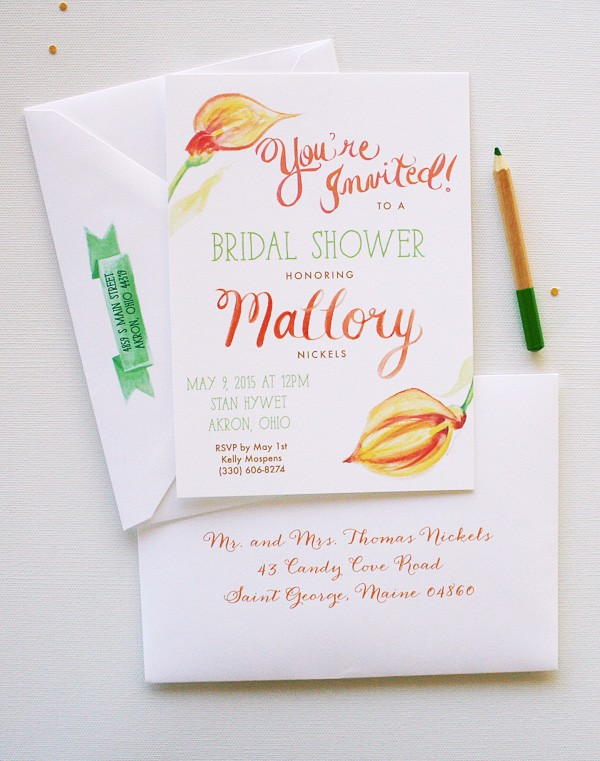 Completely unique orange and green watercolor bridal shower invitations | www.mospensstudio.com