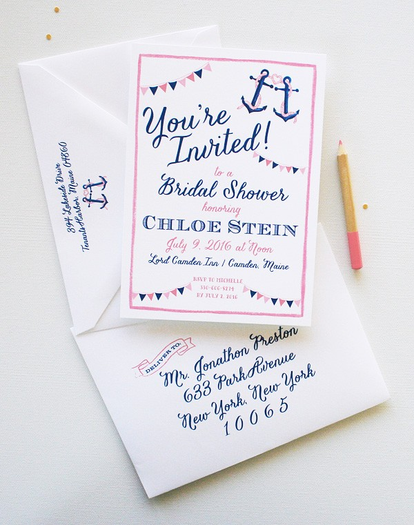 Completely unique preppy nautical watercolor bridal shower invitations | www.mospensstudio.com