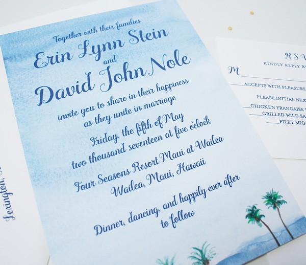 Watercolor beach wedding invitations | www.mospensstudio.com