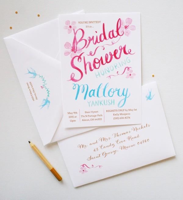 Unique bridal shower invitations mospens studio completely unique watercolor bridal shower invitations mospensstudio filmwisefo