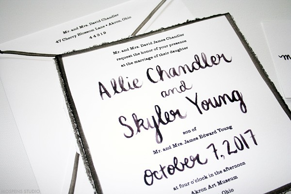 Modern wedding invitations. Black and white hand-painted calligraphy. | www.mospensstudio.com