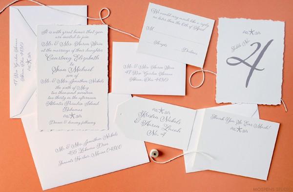 Elegant beach wedding invitations | www.mospensstudio.com