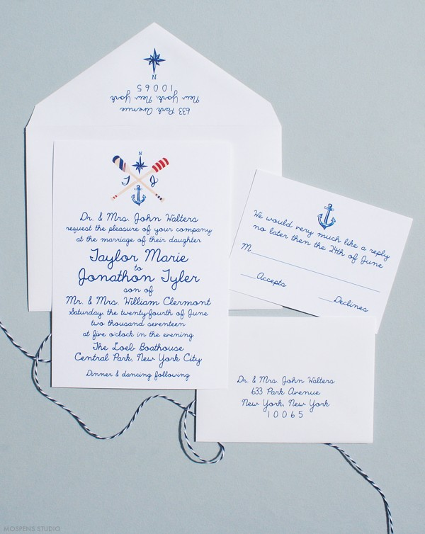 Hand drawn wedding invitations nautical | www.mospensstudio.com