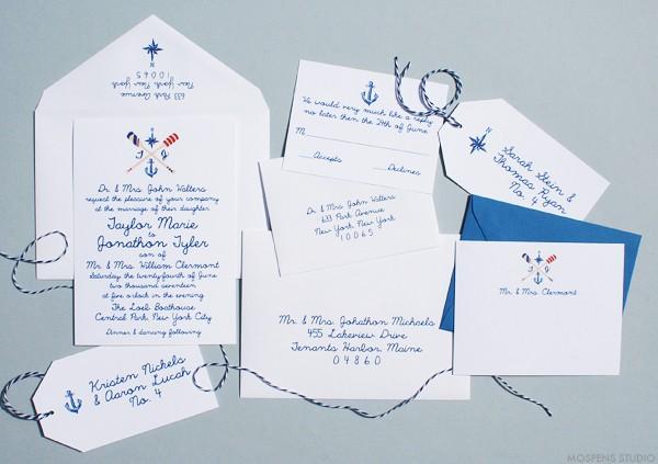Hand Drawn Wedding Invitations, Nautical Invitations | Mospens Studio