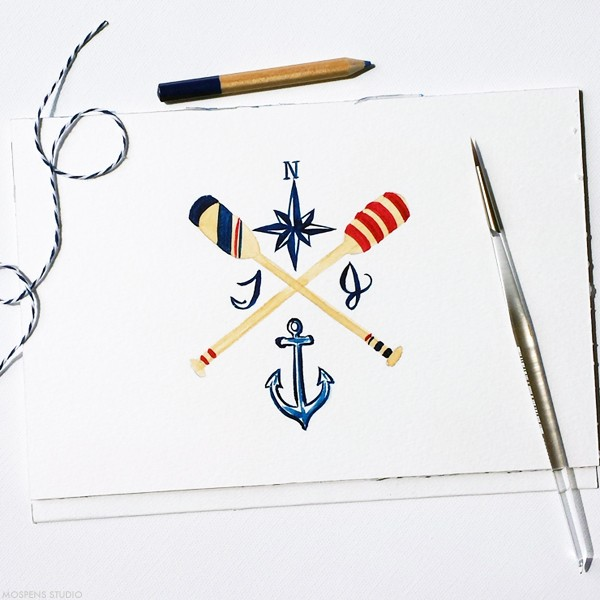 Hand-painted nautical wedding invitation design | www.mospensstudio.com