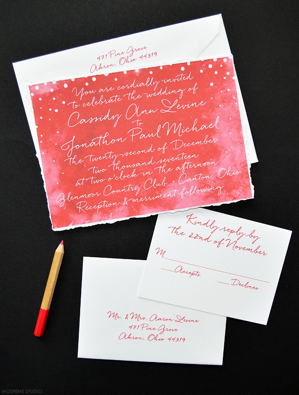 Christmas red winter wedding invitations | www.mospensstudio.com