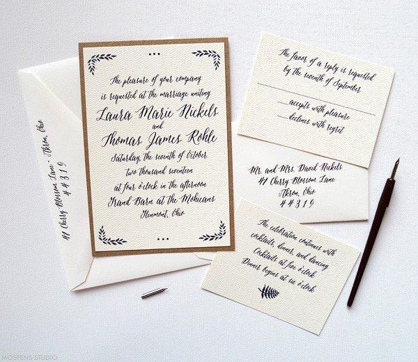 Romantic Rustic Woodland Wedding Invitation | www.mospensstudio.com