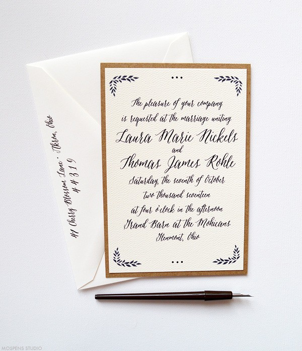 Romantic Rustic Woodland Wedding Invitations | www.mospensstudio.com