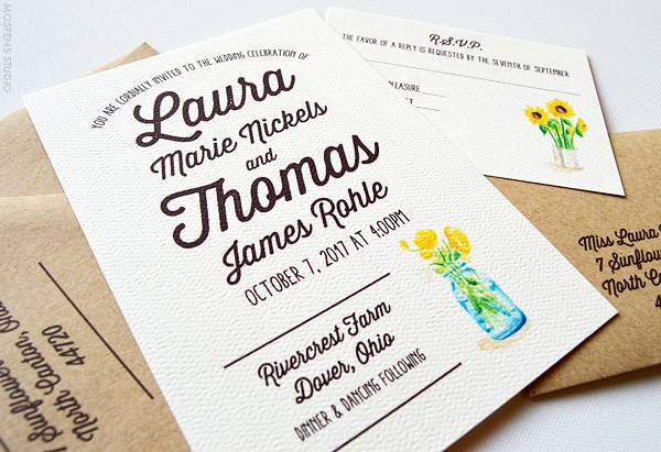 Rustic Country Wedding Invitations Sunflowers | www.mospensstudio.com