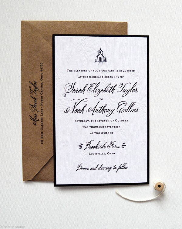 Rustic Invitations With Vintage Country Chapel | www.mospensstudio.com