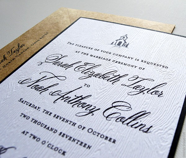 Rustic Wedding Invitations With Vintage Country Chapel | www.mospensstudio.com