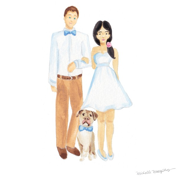 Custom illustrated couple family | www.mospensstudio.com