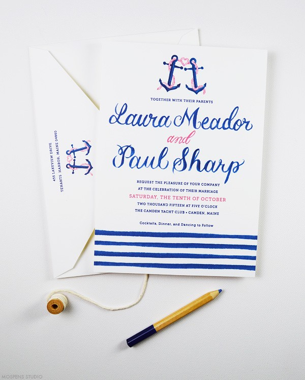 Nautical theme wedding invitations | www.mospensstudio