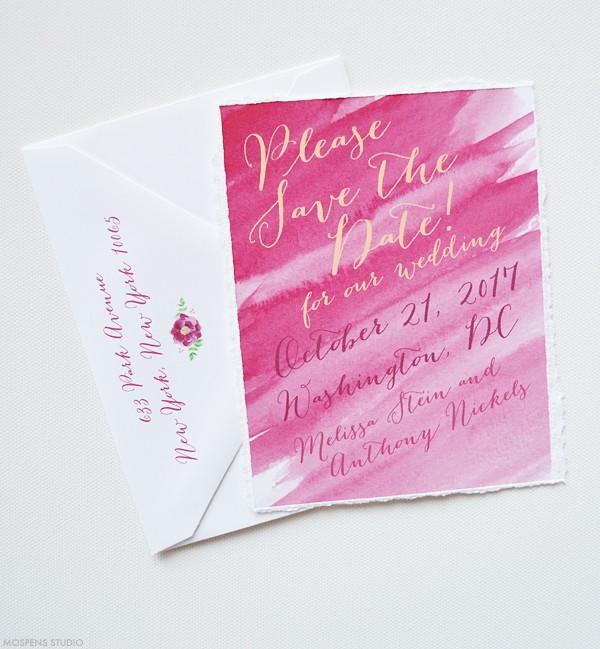 Sangria watercolor save the date cards | www.mospensstudio.com