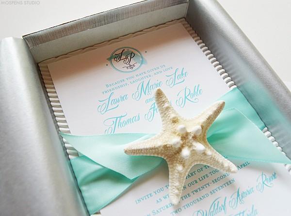 Florida beach wedding invitations with starfish | www.mospensstudio.com