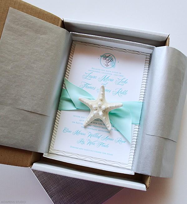 Beach theme destination wedding invitations in a box | www.mospensstudio.com