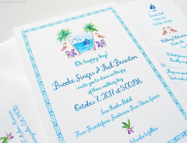 Handpainted Greek Wedding invitations | www.mospensstudio.com