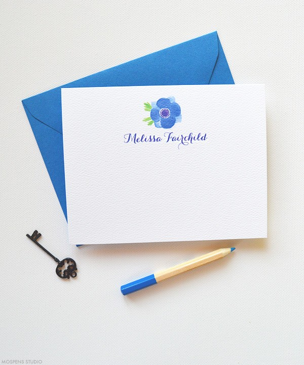 Blue Personalized Thank You Notes | www.mospensstudio.com