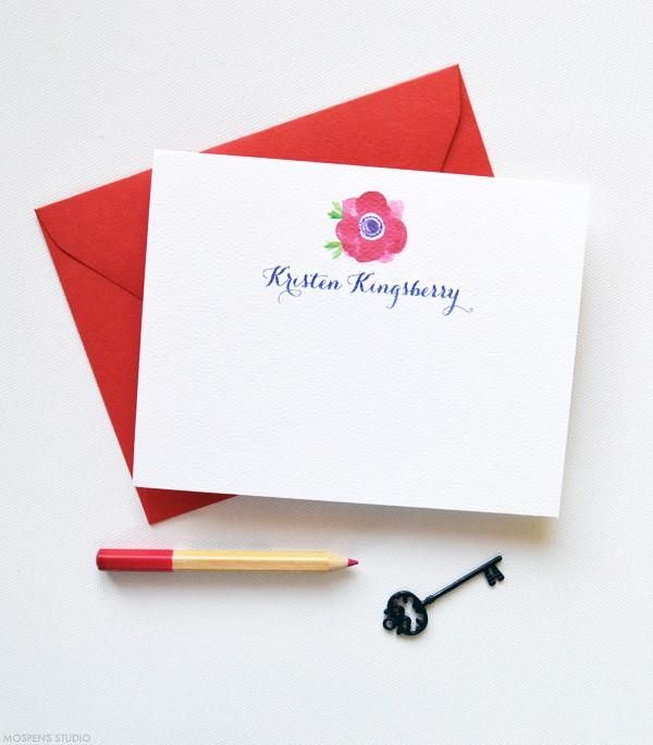 Red Personalized Thank You Notes | www.mospensstudio.com