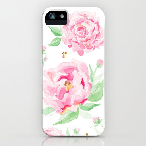 Beautiful watercolor peony flowers cell phone case by artist Michelle Mospens | Mospens Studio