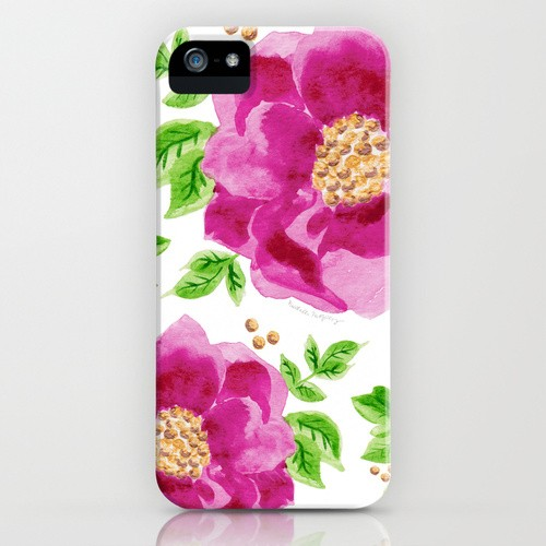 Beautiful watercolor sangria flowers cell phone case by artist Michelle Mospens | Mospens Studio