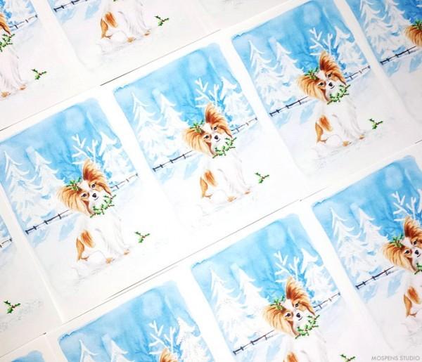 Custom illustrated dog Christmas Cards - www.mospensstudio.com