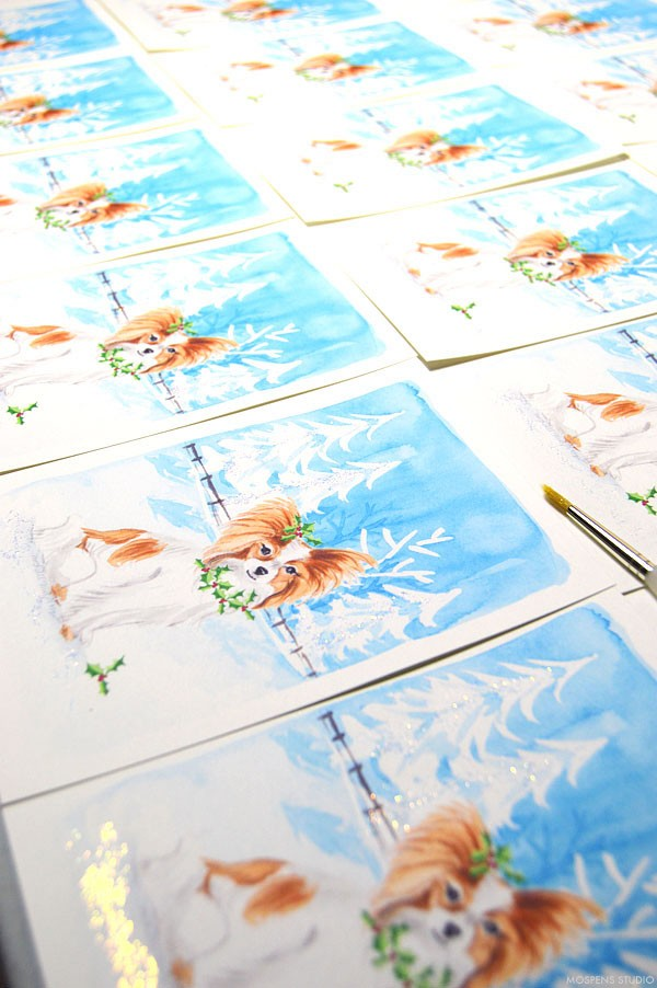 Custom dog Christmas Cards - www.mospensstudio.com